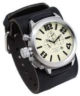 Nemesis #KIN088T Men's Russian Lefty Chronograph Wide Leather Cuff Band Watch