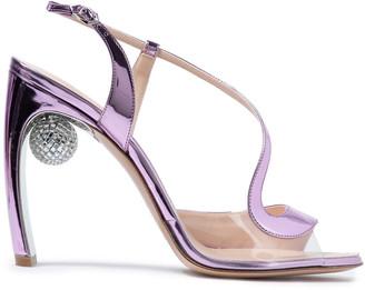 Nicholas Kirkwood Embellished Metallic Faux Leather Sandals