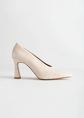 And other stories Croc Embossed Flared Heel Pumps