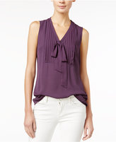 Maison Jules Pleated Tie-Neck Blouse, Only at Macy's