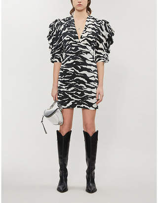 Isabel Marant Farrah zebra-print stretch-silk mini dress