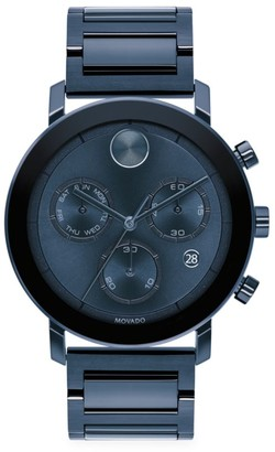Movado BOLD Evolution Chronograph Blue Ion-Plated Stainless Steel Bracelet Watch