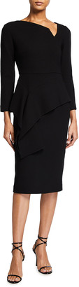 Roland Mouret Abbaye Peplum Draped Wool Dress