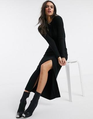 Asos DESIGN super soft rib open back maxi dress in black