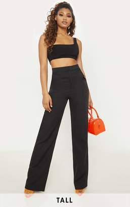 PrettyLittleThing Tall Black Pocket Detail High Waisted Wide Leg Trouser