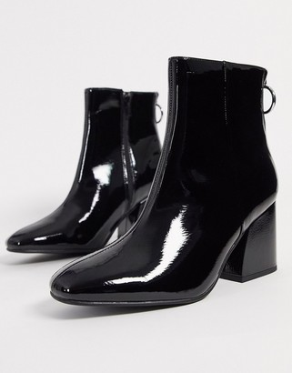Steve Madden roxter heeled ankle boots in black patent