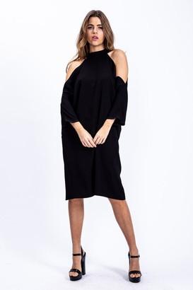 Liquorish Relaxed Fit Cold Shoulder Midi Dress in Black