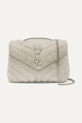Saint Laurent Loulou Small Crystal-embellished Quilted Leather Shoulder Bag - Ecru