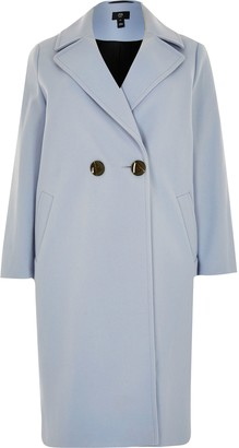 River Island Womens Plus Blue relaxed double breasted coat