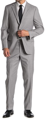 Hickey Freeman Light Grey Plaid Two Button Notch Lapel Suit