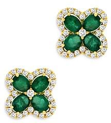 Bloomingdale's Emerald & Diamond Clover Stud Earrings in 14K Yellow Gold - 100% Exclusive
