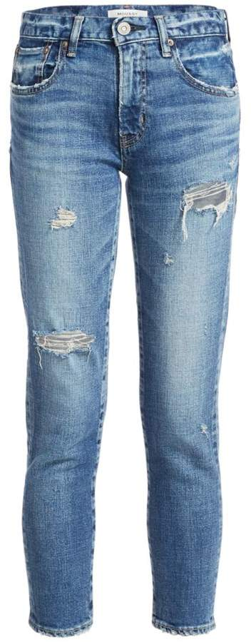 Moussy Vintage Cantill Mid-Rise Skinny Distressed Jeans