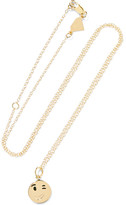 Alison Lou Small Wink Face Enameled 14-karat Gold Necklace