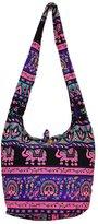 Pada Craft Shop Thai Hippie Hobo Sling Crossbody Shoulder Bag Purse Handmade Zip Elephant Peacock Pattern Cotton Gypsy Boho Messenger