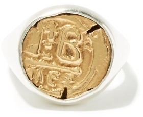 M. Cohen Engraved-coin Sterling-silver Signet Ring - Silver