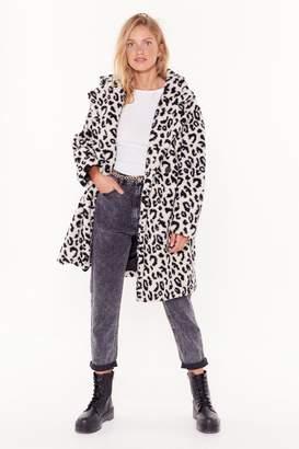 Nasty Gal Womens Girls Go Wild Faux Fur Longline Coat - white - L