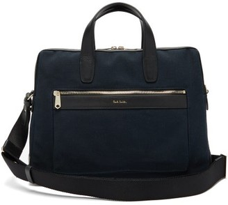 Paul Smith Leather-trimmed Canvas Briefcase - Mens - Navy