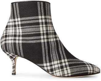 Polly Plume Black & White Janis Plaid Ankle Booties