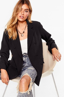 Nasty Gal Womens Mind Your Business Double Breasted Blazer - Black