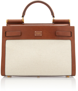 Dolce & Gabbana Sicily Canvas and Leather Tote Bag