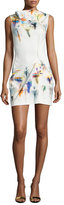Roland Mouret Sleeveless Pleated Floral-Print Shift Dress, Iris