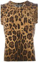 Dolce & Gabbana leopard print sleeveless sweater - women - Cashmere - 44