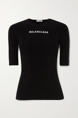 Balenciaga - Printed Stretch-jersey Top - Black