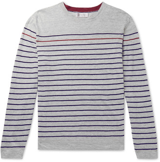 Brunello Cucinelli Striped Melange Linen And Cotton-Blend Sweater