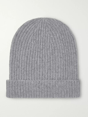 Anderson & Sheppard Ribbed Melange Cashmere Beanie