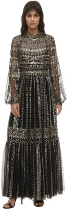 Sequined Tulle Midi Dress