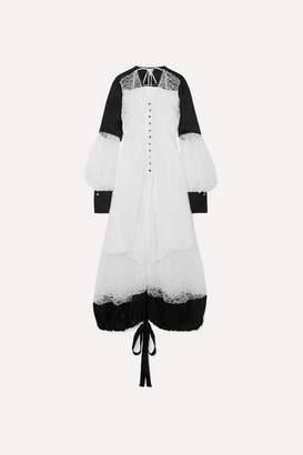 Loewe Satin-paneled Corded Lace Maxi Dress - White