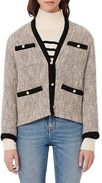 Maje Vinie Lurex Tweed Jacket with Contrasting Trim