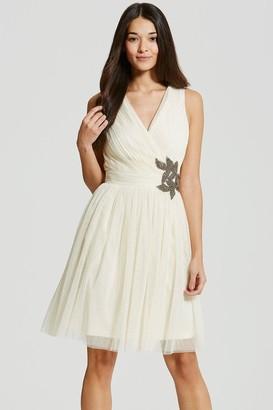 Little Mistress Cream Embellished Prom Dress