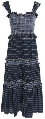 Jonathan Simkhai Smocked Striped Woven Maxi Dress