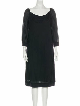 S Max Mara Cowl Neck Midi Length Dress Black