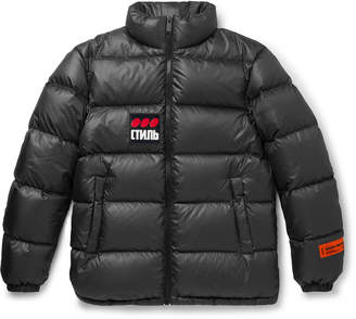 Heron Preston Logo-Appliqued Quilted Shell Down Jacket - Men - Gray
