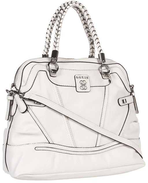 GUESS Sidney Dome Satchel (White) - Bags and Luggage
