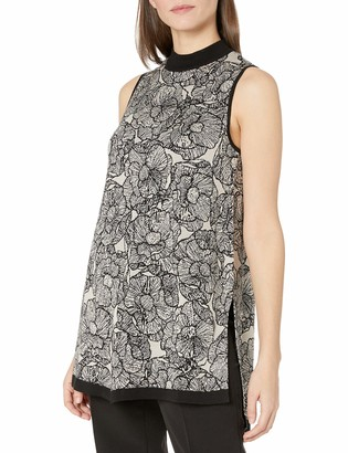Anne Klein Women's Floral Jacquard High Low Sweater