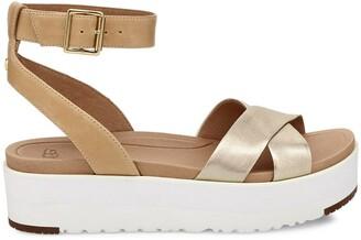 UGG Tipton Metallic Leather Wedge Sandals