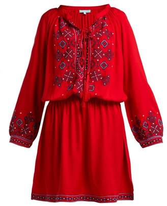 Melissa Odabash Nadja Geometric Embroidered Crepe Mini Dress - Womens - Red