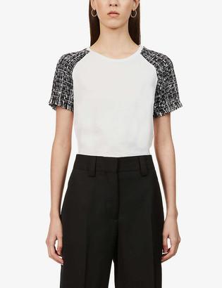 Maje Tiacou tweed-panel cotton-blend T-shirt