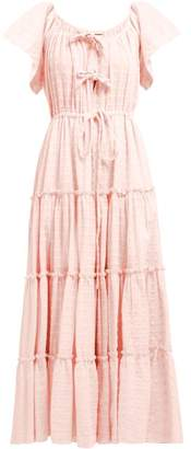 Innika Choo Geometric Embroidered Tired Cotton Midi Dress - Womens - Light Pink
