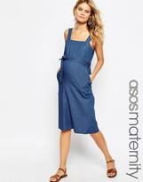 Asos Denim Belted Midi Dress in Mid Wash Blue