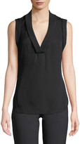 Emporio Armani Sleeveless Silk V-Neck Blouse