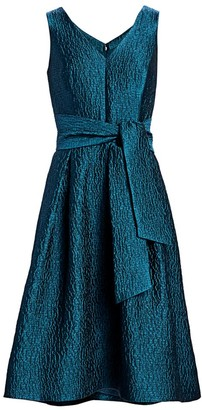 Teri Jon By Rickie Freeman Jacquard V-Neck Sleeveless Belted A-Line Dress