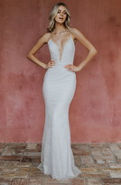 Katie May Noel And Jean By Oh Baby Plunging Lace Trumpet Gown