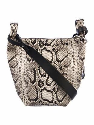 Elena Ghisellini Embossed Leather Shoulder Bag Silver