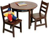 Lipper Child's Round Table & 2 Chairs Set in Walnut