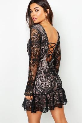 boohoo Corded Lace Frill Hem Mini Dress