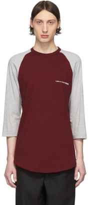 Comme des Garcons Grey and Burgundy Logo Baseball T-Shirt